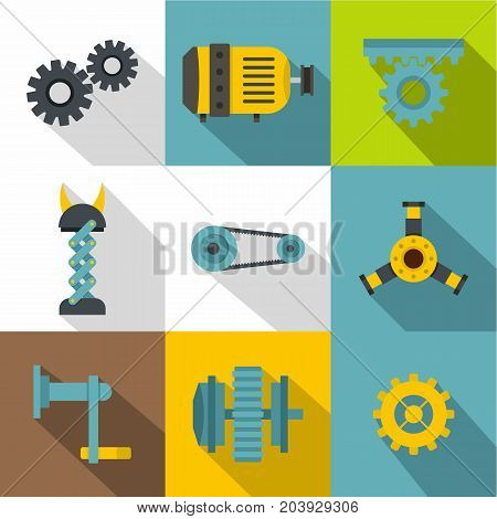 Machinery gear icon set. Flat style set of 9 machinery gear vector icons for web design