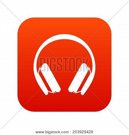Protective headphones icon digital red for any design isolated on white vector illustration