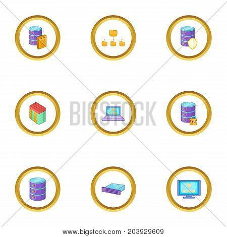 Data transfer icons set. Cartoon set of 9 data transfer vector icons for web isolated on white background