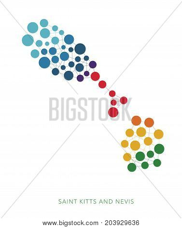 dotted texture Saint Kitts and Nevis vector rainbow colorful background