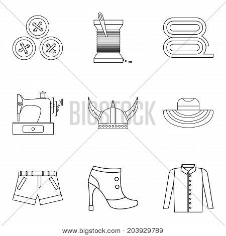 Making of clothes icon set. Outline set of 9 making of clothes vector icons for web design isolated on white background