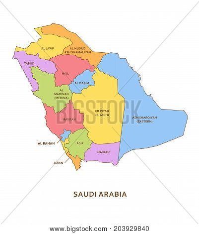 Saudi Arabia regions, vector province geography background