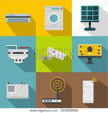 Automatic electronic devices icon set. Flat style set of 9 automatic electronic devices vector icons for web design