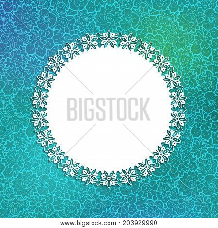 Card design template. Lacy round floral frame on decorative green background with flowers. Vector image