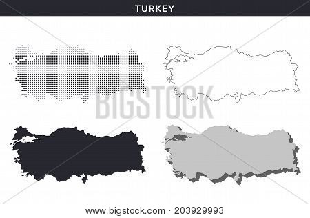 Turkey map vector collection, abstract geography patterns