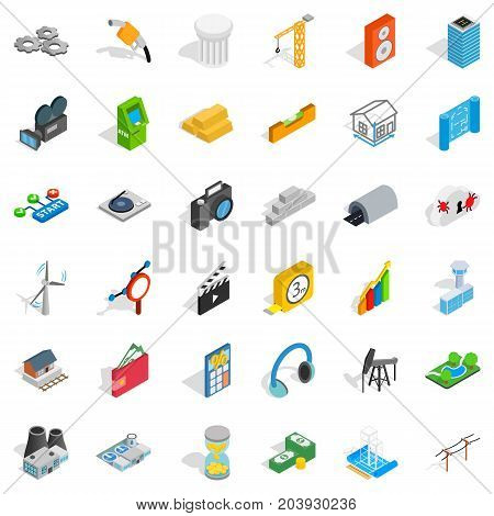 Flash drive icons set. Isometric style of 36 flash drive vector icons for web isolated on white background