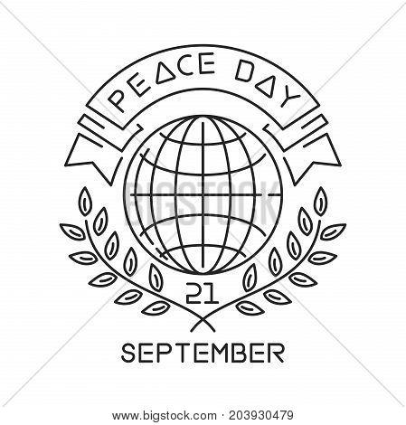 Peace Day line logo design. International Day of Peace. September 21. Vector illustration