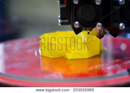 3d printing printer close-up model abstract close-up. Progressive modern additive technologies 4.0 industrial revolution