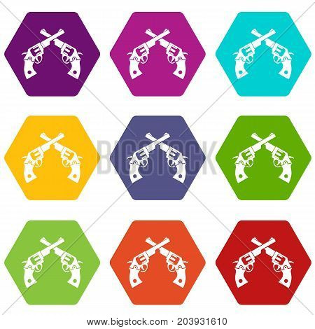 Revolvers icon set many color hexahedron isolated on white vector illustration