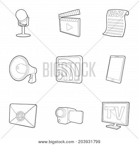 News subscription icons set. Outline set of 9 news subscription vector icons for web isolated on white background