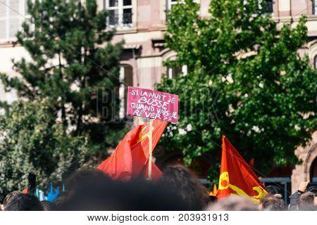 Palcard Banner At Protest In Strasbourg France