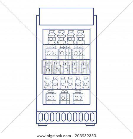 silhouette supermarket fridge with fresh drinks beverage vector illustration