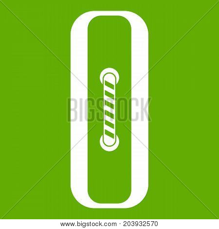 Sewn rectangular button icon white isolated on green background. Vector illustration