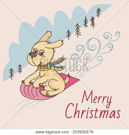 Doodle dog rolls down the mountain on a sleigh, merry Christmas greeting card