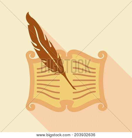 Feather writing icon. Flat illustration of feather writing vector icon for web design