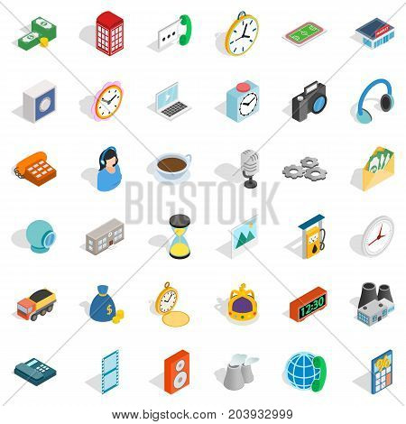 Address icons set. Isometric style of 36 address vector icons for web isolated on white background