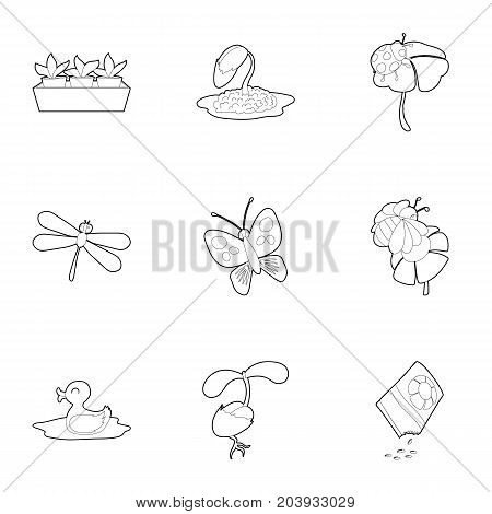 Garden plants and accessory icons set. Outline set of 9 garden plants and accessory vector icons for web isolated on white background