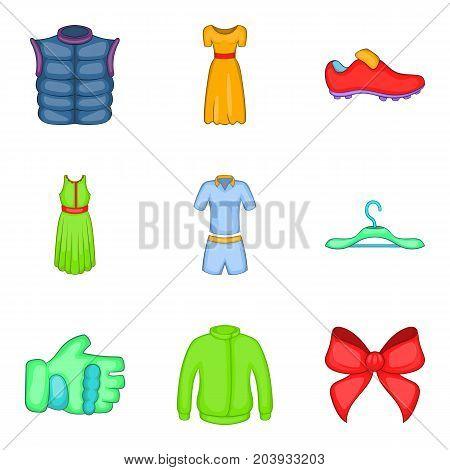 Light summer clothes icon set. Cartoon set of 9 light summer clothes vector icons for web design isolated on white background