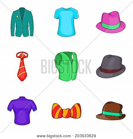 Man elegant clothes icon set. Cartoon set of 9 man elegant clothes vector icons for web design isolated on white background