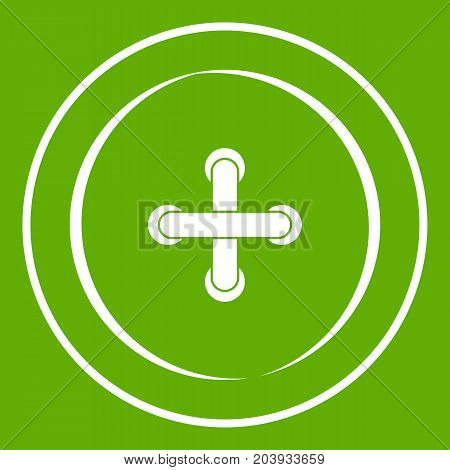 Sewing button icon white isolated on green background. Vector illustration