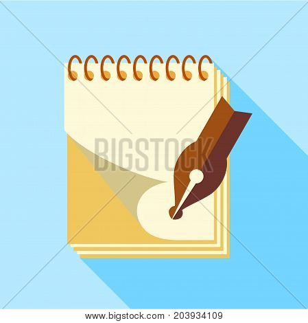 Ink pen on notebook icon. Flat illustration of ink pen on notebook vector icon for web design