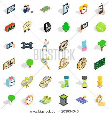 Stopwatch icons set. Isometric style of 36 stopwatch vector icons for web isolated on white background