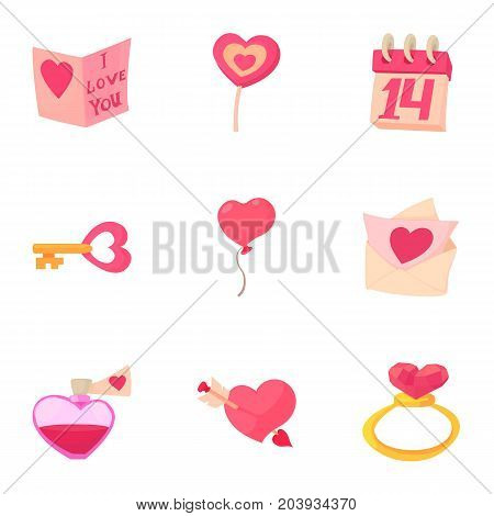 Valentine day and wedding icons set. Cartoon set of 9 valentine day and wedding vector icons for web isolated on white background