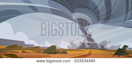 Tornado In Countryside Hurricane Landscape Of Storm Waterspout Twister In Field Natural Disaster Concept Flat Vector Illustration