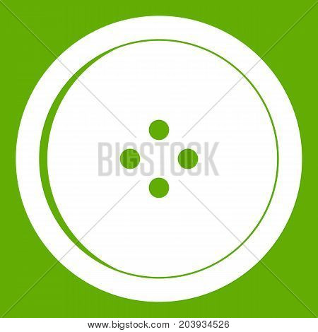 Round sewing button icon white isolated on green background. Vector illustration