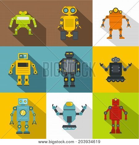 Clever machines icon set. Flat style set of 9 clever machines vector icons for web design