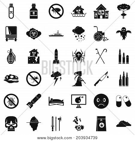 Bomb icons set. Simple style of 36 bomb vector icons for web isolated on white background