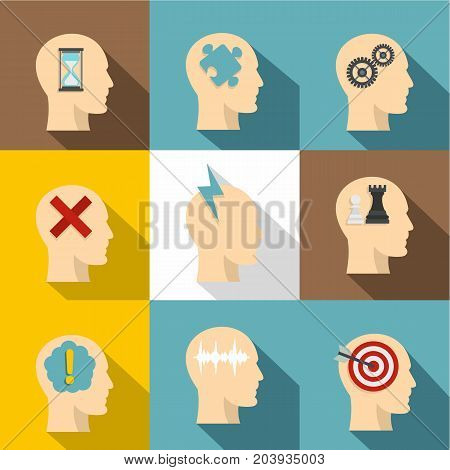 Man head with thoughts icon set. Flat style set of 9 man head with thoughts vector icons for web design