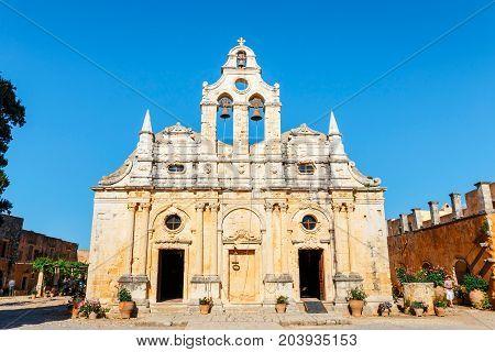 Arkadi, Crete, June 10, 2017: Arkadi Monastery Situated At The Southeast Of Rethymnon, Crete, Greece