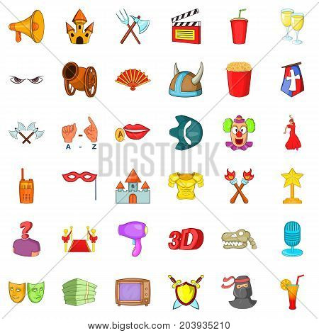 Movie icons set. Cartoon style of 36 movie vector icons for web isolated on white background