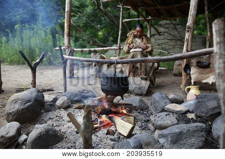 PLIMOTH MA, USA - SEPTEMBER 4 2017: Indian hearth. Indian village in Plimoth Plantation, Massachusetts