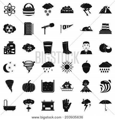 Meteorology icons set. Simple style of 36 meteorology vector icons for web isolated on white background