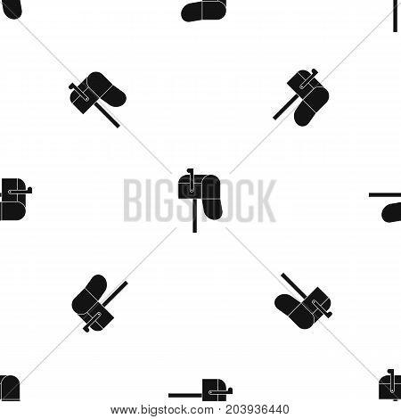 Open mailbox pattern repeat seamless in black color for any design. Vector geometric illustration