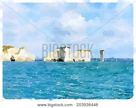 Digital watercolor painting of Old Harry Rocks off the coast of Swanage in Dorset United Kingdom with beautiful blue sea. Taken from a yacht with space for text.