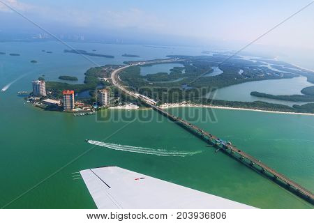 Aerial view to the Lovers Key State Recreation Area Outstanding Florida Water Estero Island Florida