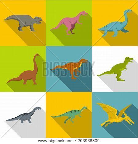 Figures of dinosaurs icon set. Flat style set of 9 figures of dinosaurs vector icons for web design