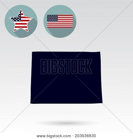 U.S. state of Colorado on the map on a white background. American flag, star