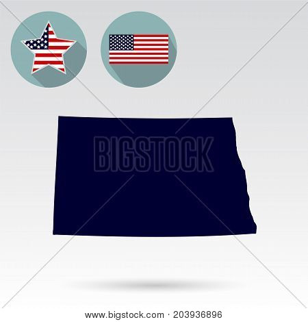 Map of the U.S. state of North Dakota on a white background. American flag, star