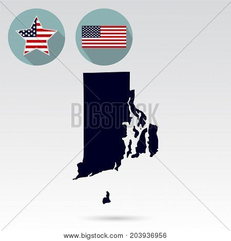 Map of the U.S. state of Rhode Island on a white background. American flag, star