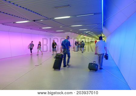 WASHINGTON, USA- AUGUST 21, 2017: Unidentified people walking inside the Metro Subway Station at Federal Triangle, Washington DC.
