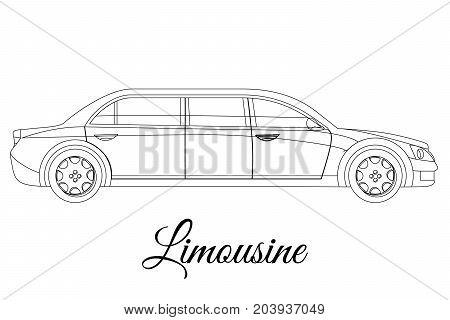 Limousine car body type outline vector illustration