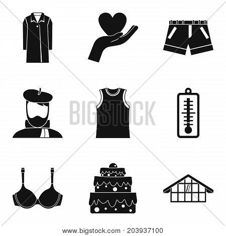 House clothes icon set. Simple set of 9 house clothes vector icons for web design isolated on white background