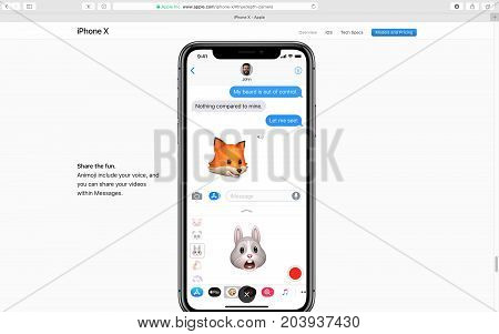 PARIS FRANCE - SEP 12 2017: Apple Computers website on Safari Browser showcasing latest Apple products - showcasing latest iPhone X 10 introducing Animoji animated emoji