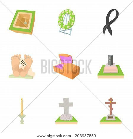 Cemetery icons set. Cartoon set of 9 cemetery vector icons for web isolated on white background