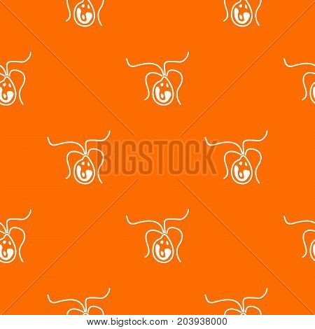 Bacterial cell pattern repeat seamless in orange color for any design. Vector geometric illustration