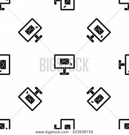 Monitor with email sign pattern repeat seamless in black color for any design. Vector geometric illustration